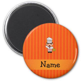 Personalized name italian chef orange stripes fridge magnets