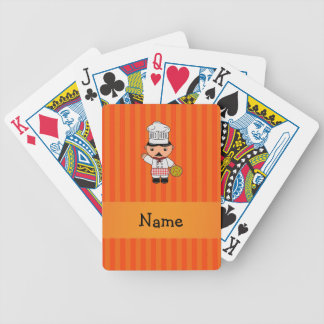 Personalized name italian chef orange stripes playing cards