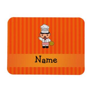 Personalized name italian chef orange stripes rectangular magnets