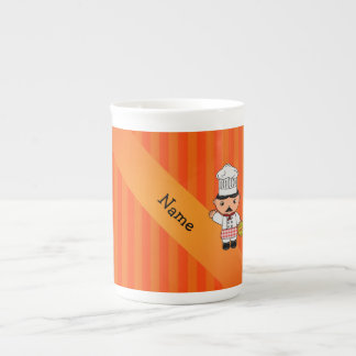 Personalized name italian chef orange stripes bone china mugs