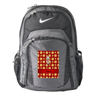 Personalized name italian chef red pizza pattern backpack