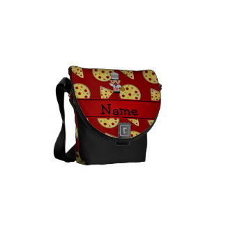 Personalized name italian chef red pizza pattern courier bag