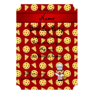 Personalized name italian chef red pizza pattern announcement
