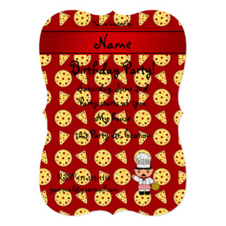 Personalized name italian chef red pizza pattern personalized announcements