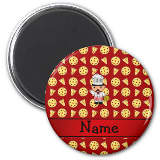 Personalized name italian chef red pizza pattern refrigerator magnets