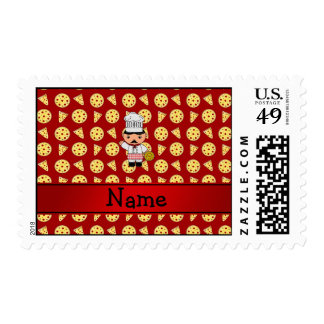 Personalized name italian chef red pizza pattern postage