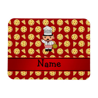Personalized name italian chef red pizza pattern flexible magnet