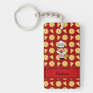 Personalized name italian chef red pizza pattern Single-Sided rectangular acrylic keychain