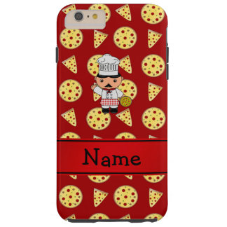 Personalized name italian chef red pizza pattern tough iPhone 6 plus case