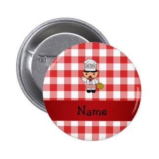 Personalized name italian chef red white checkers button