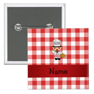 Personalized name italian chef red white checkers pinback buttons