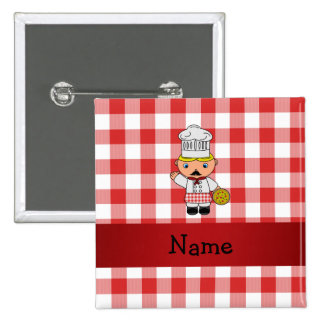 Personalized name italian chef red white checkers pins