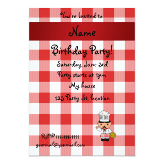 Personalized name italian chef red white checkers personalized announcements