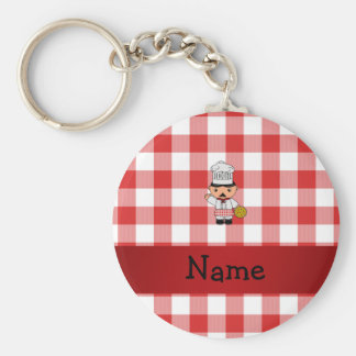 Personalized name italian chef red white checkers key chain