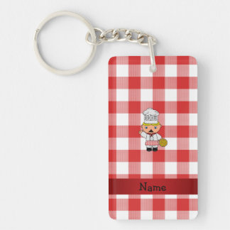 Personalized name italian chef red white checkers acrylic key chain