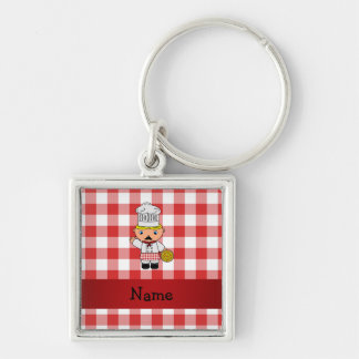 Personalized name italian chef red white checkers keychain
