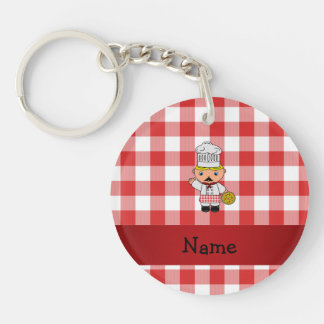 Personalized name italian chef red white checkers acrylic keychain
