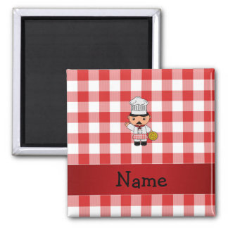 Personalized name italian chef red white checkers refrigerator magnet