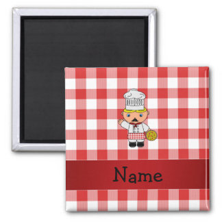 Personalized name italian chef red white checkers refrigerator magnets