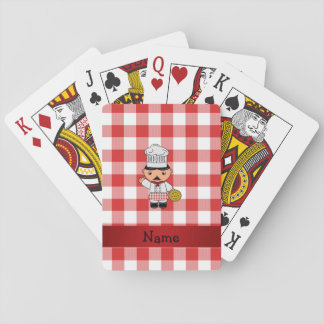 Personalized name italian chef red white checkers card decks