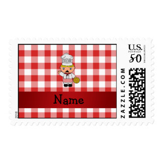 Personalized name italian chef red white checkers postage