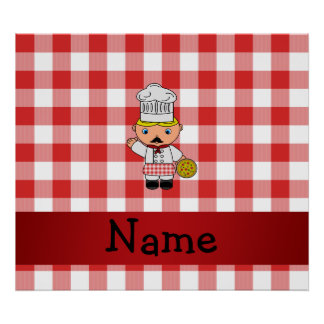 Personalized name italian chef red white checkers poster