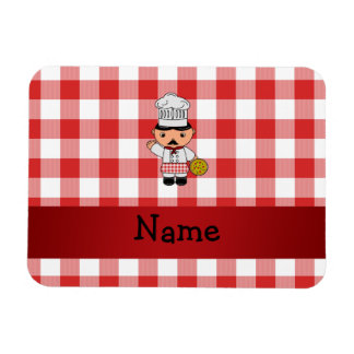 Personalized name italian chef red white checkers flexible magnet