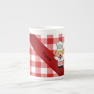 Personalized name italian chef red white checkers bone china mug