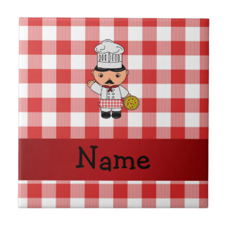 Personalized name italian chef red white checkers tile