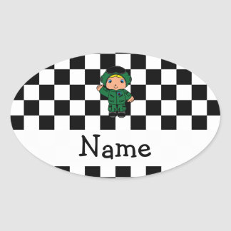 Personalized name jet pilot black white checkered oval sticker