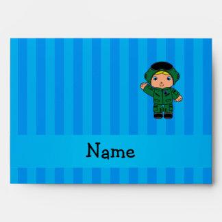 Personalized name jet pilot blue stripes envelopes