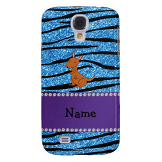 Personalized name kangaroo blue zebra stripes samsung galaxy s4 cases