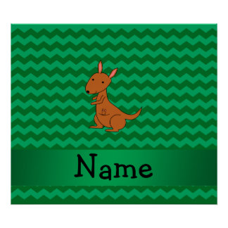 Personalized name kangaroo green chevrons poster
