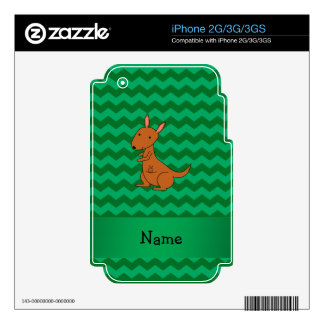 Personalized name kangaroo green chevrons iPhone 2G skins