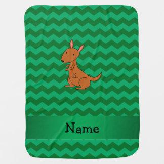 Personalized name kangaroo green chevrons swaddle blanket