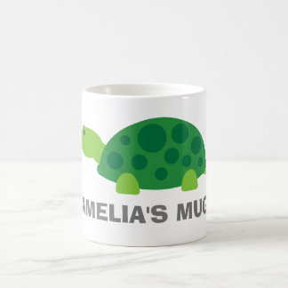 Personalized name kids mug with cute green turtle