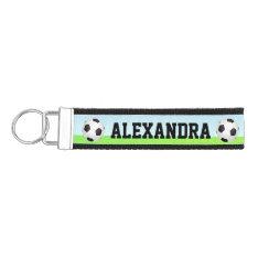 Personalized Name Kid's Sports Soccer Wrist Keychain at Zazzle