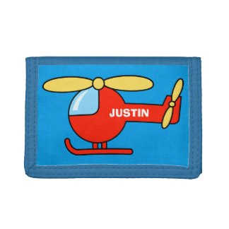 Personalized name kids wallet with toy helicopter