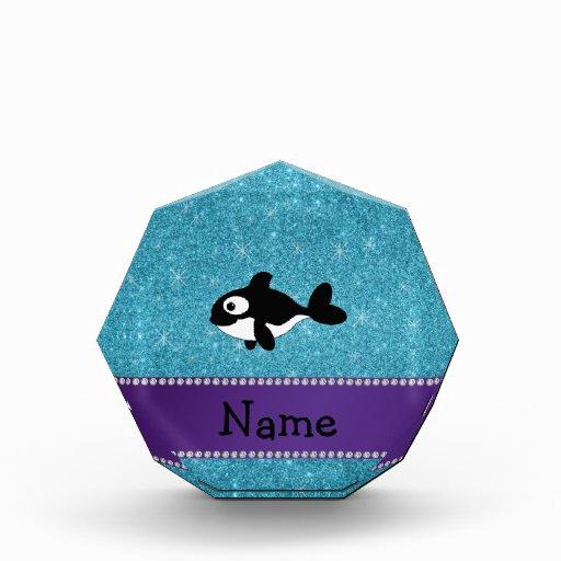 Personalized name killer whale blue glitter acrylic award