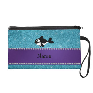 Personalized name killer whale blue glitter wristlet clutches