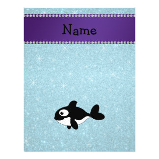 Personalized name killer whale blue glitter personalized flyer