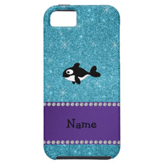Personalized name killer whale blue glitter iPhone 5 cover