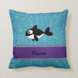 Personalized name killer whale blue glitter pillows