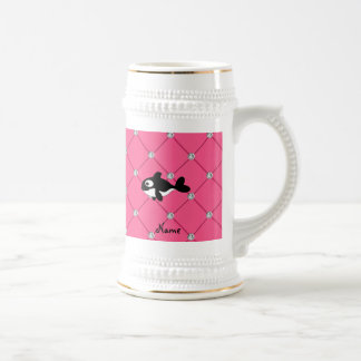 Personalized name killer whale pink diamonds beer stein
