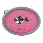Personalized name killer whale pink diamonds belt buckle