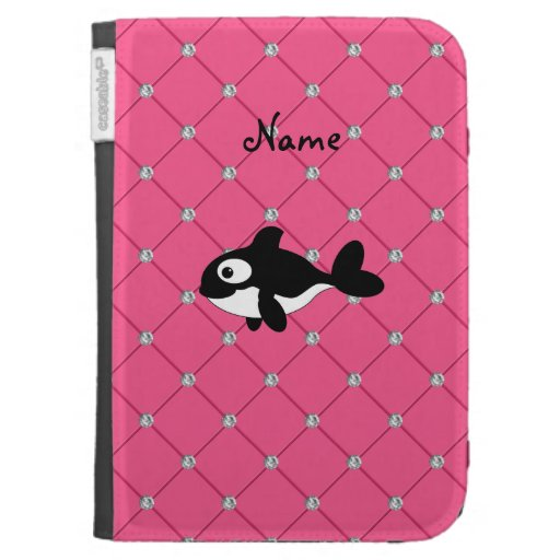 Personalized name killer whale pink diamonds kindle 3G cover