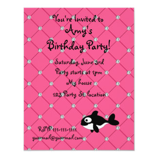 "Personalized name killer whale pink diamonds 4.25"" x 5.5"" invitation card"