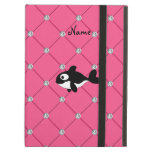 Personalized name killer whale pink diamonds iPad cover