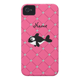 Personalized name killer whale pink diamonds iPhone 4 Case-Mate cases