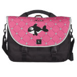Personalized name killer whale pink diamonds computer bag